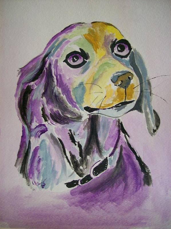Dog Art Print featuring the painting Purple Beagle by Leo Gordon