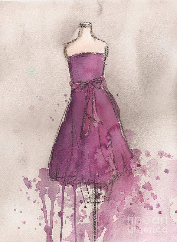 Purple Art Print featuring the painting Purple Bow Dress by Lauren Maurer
