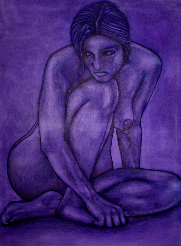 Nude Women Art Print featuring the painting Purple by Thomas Valentine