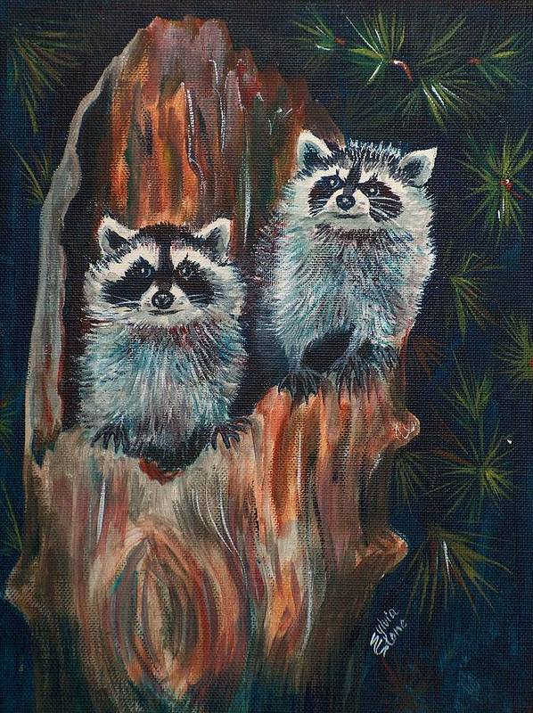 Animal Art Print featuring the painting Racoons by Sylvia Stone