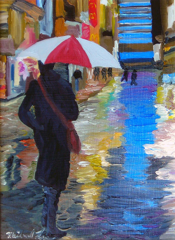 Umbrella Art Print featuring the painting Rainy New York by Michael Lee