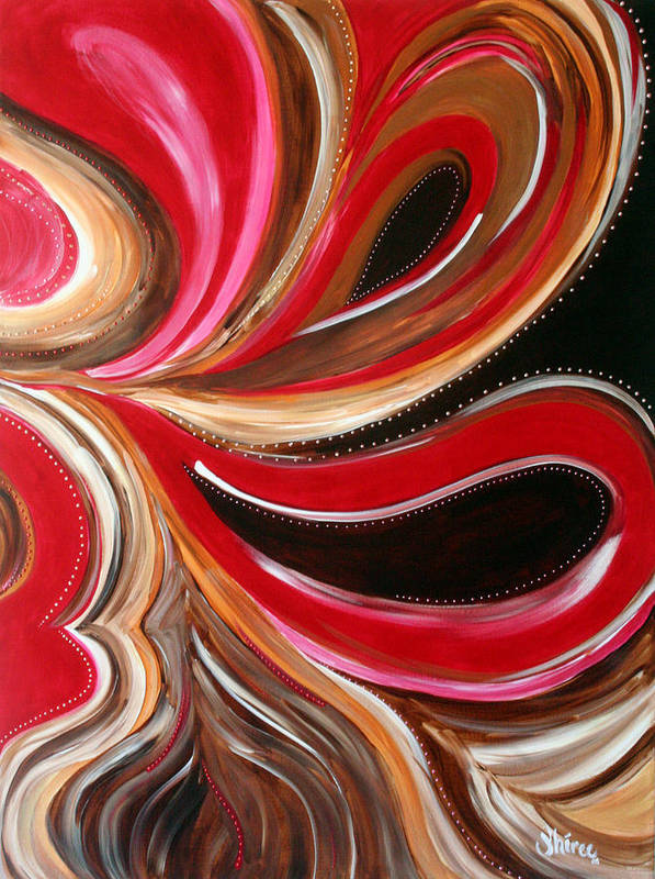Abstract Paintings Art Print featuring the painting Raspberry Pralines N by Shiree Gilmore