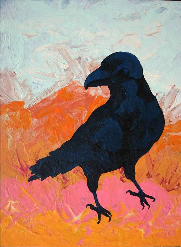 Raven Art Print featuring the painting Raven I by Dodd Holsapple