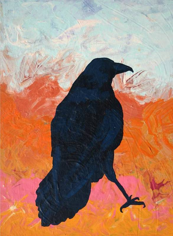 Raven Art Print featuring the painting Raven II by Dodd Holsapple