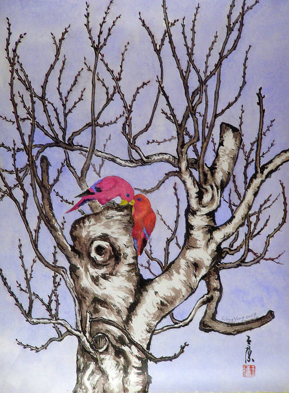 Tree Art Print featuring the painting Red Birds On A Withered Tree by Ying Wong