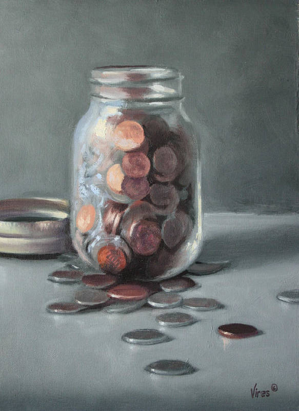 Still Life Art Print featuring the painting Red Cent by Michael Vires