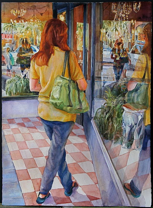 Figures Art Print featuring the painting Reflecting Shopping by Carolyn Epperly