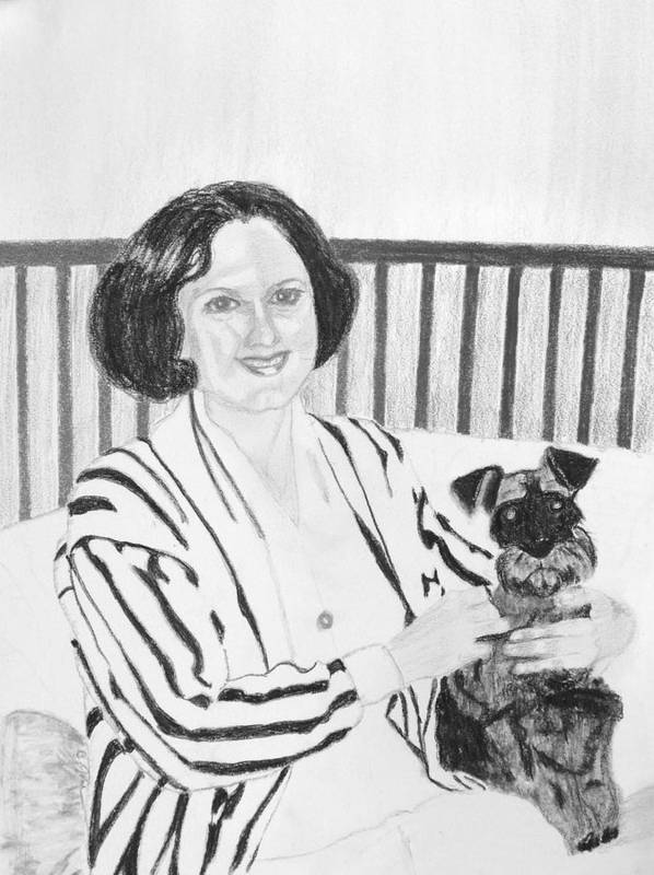 Rita Lady Dog Schnauzer Art Print featuring the drawing Rita by Cathy Jourdan