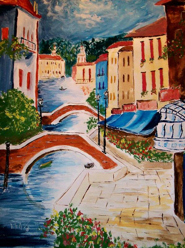 Canal Art Print featuring the painting Riverwalk by Leo Gordon