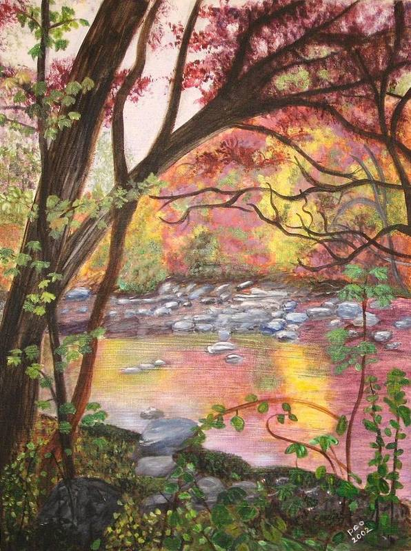 Landscape Art Print featuring the painting Rock Creek Autumn by Patricia Ortman