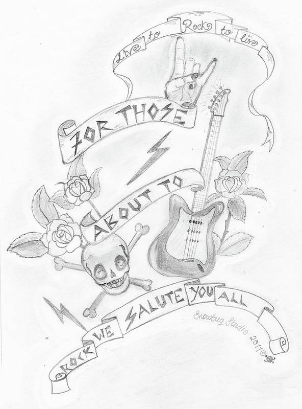 Rock Art Print featuring the drawing Rock Salute by Snowbug Studio