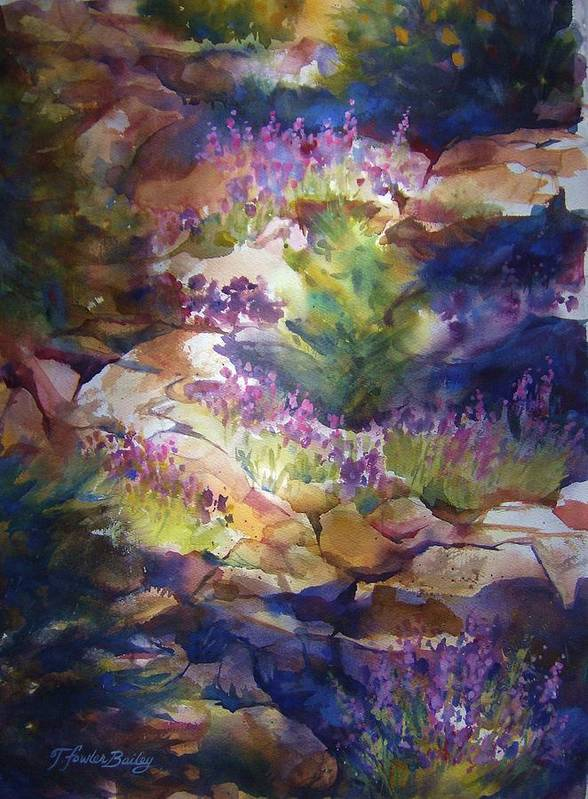 Mt. Lassen National Park Art Print featuring the painting Rocks And Lupine  Sold by Therese Fowler-Bailey