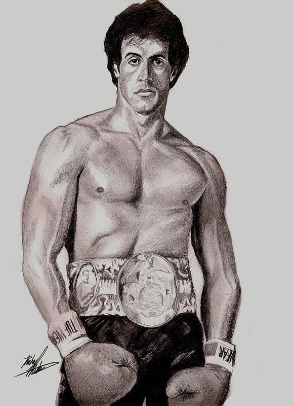 Rocky Print featuring the drawing Rocky 3 by Michael Mestas