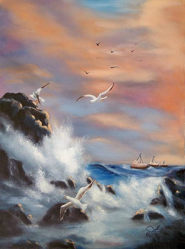 Coast Art Print featuring the painting Rocky Shore by Joni McPherson