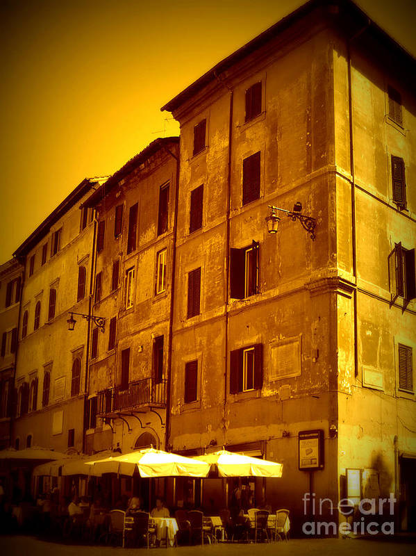 Italy Art Print featuring the photograph Roman Cafe With Golden Sepia 2 by Carol Groenen