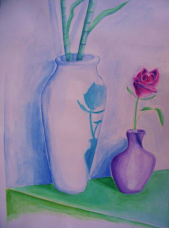 Red Rose Art Print featuring the painting Roses In Vase by Eric Schiabor
