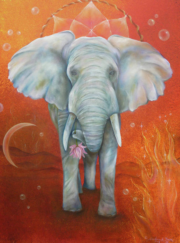 White Elephant Art Print featuring the painting Royal White Elephant by Sundara Fawn