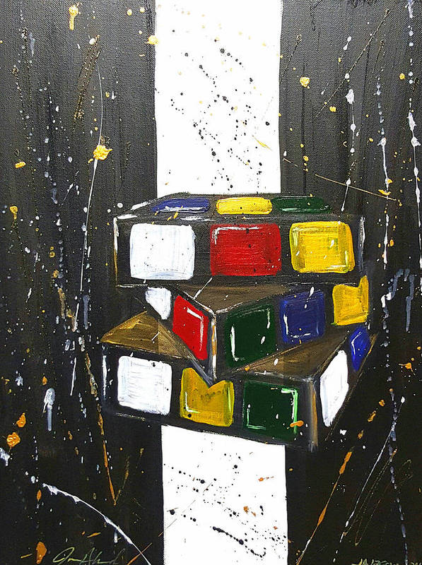 Rubics Cube Art Print featuring the painting Rubic by Janee Alexander