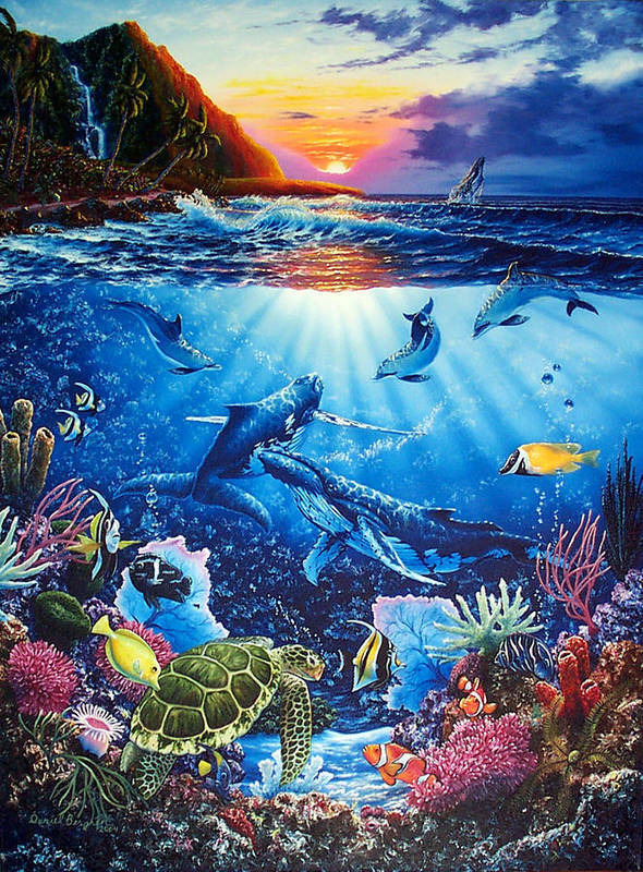 Whales Art Print featuring the painting Sacred Waters by Daniel Bergren