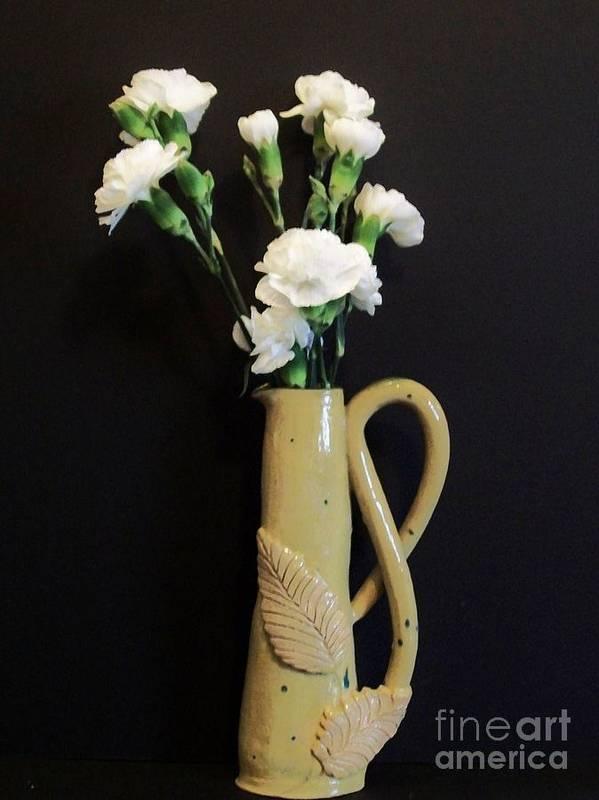 Handmade Vase W/ Leaves Art Print featuring the photograph Sandi's Leaf Vase by Marsha Heiken