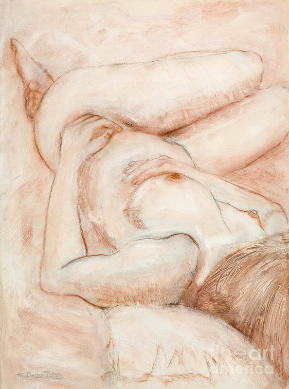 Female Art Print featuring the drawing Sanguine Nude by Kerryn Madsen-Pietsch