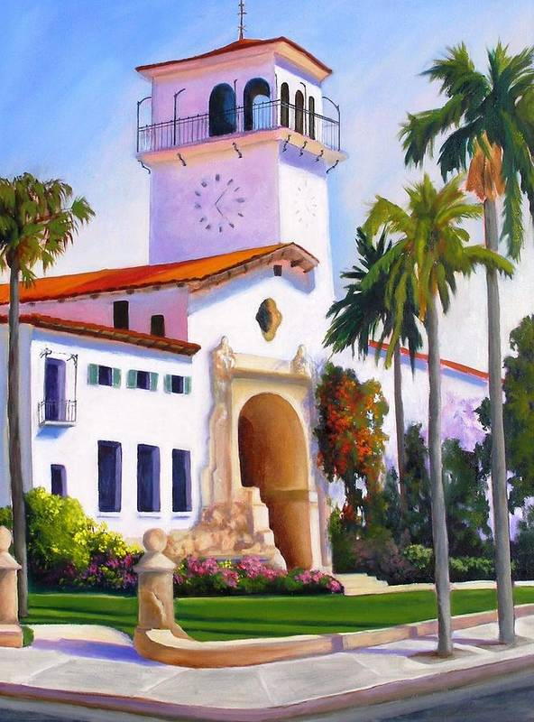 Architecture Art Print featuring the painting Santa Barbara Court House by Dorothy Nalls