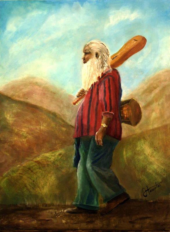 Portrait Art Print featuring the painting Santa Fe Sam by Jack Hampton