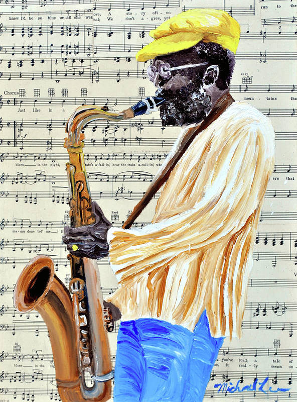 Sax Player Art Print featuring the painting Sax Man With A Yellow Hat by Michael Lee