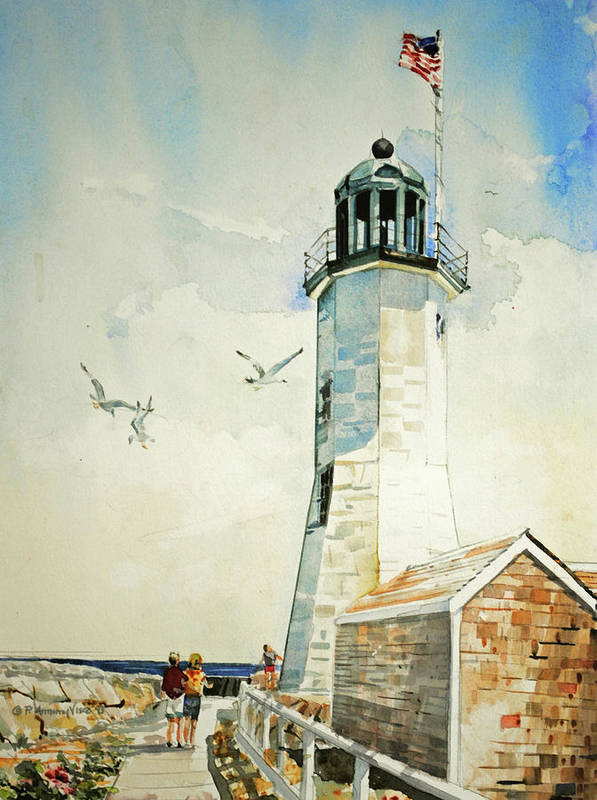 Scituate Light Art Print featuring the painting Scituate Light by P Anthony Visco