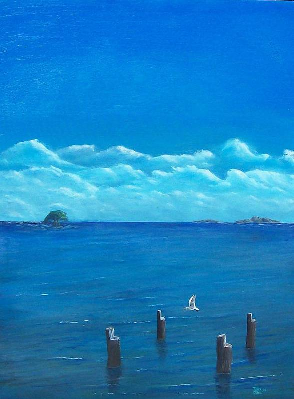 Seascape Art Print featuring the painting Seagull Seascape IIi by Tony Rodriguez