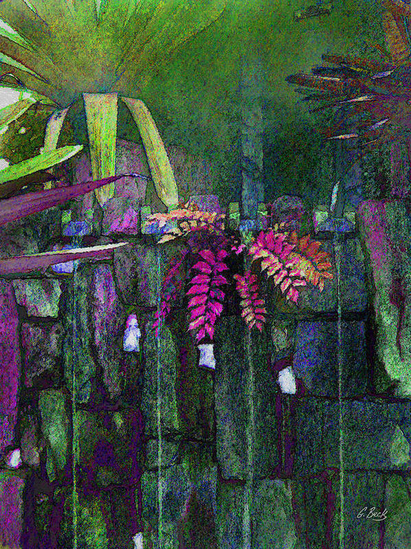 Contemporary Abstract Garden Water Waterfall Ferns Nature Botany Botanical Gordon Beck Fine Art Art Print featuring the photograph Secret Garden by Gordon Beck
