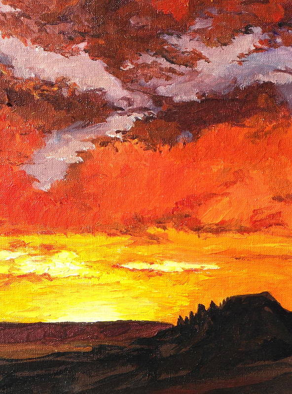 Sedona Art Print featuring the painting Sedona Sunset 2 by Sandy Tracey
