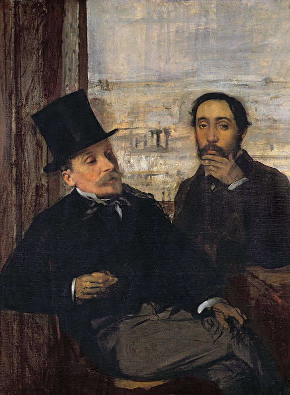 Self Portrait With Evariste De Valernes (1816-96) C.1865 (oil On Canvas) By Edgar Degas (1834-1917) Art Print featuring the painting Self Portrait With Evariste De Valernes by Edgar Degas