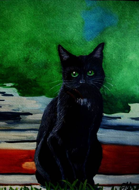 Cats Art Print featuring the painting Shadow The Cat by Liz Borkhuis