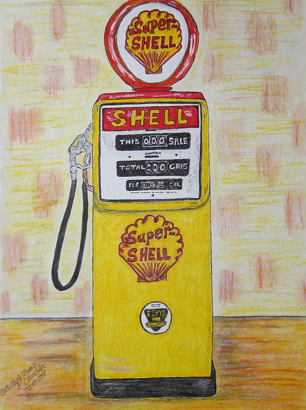 Super Shell Art Print featuring the painting Shell Gas Pump by Kathy Marrs Chandler