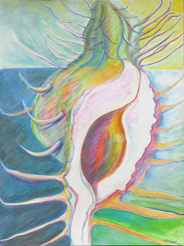 Fantasy Art Print featuring the painting Shell Metamorphosis by Kathy Mitchell