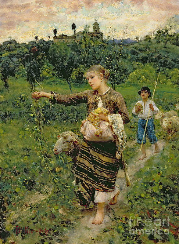 Shepherdess Art Print featuring the painting Shepherdess Carrying A Bunch Of Grapes by Francesco Paolo Michetti