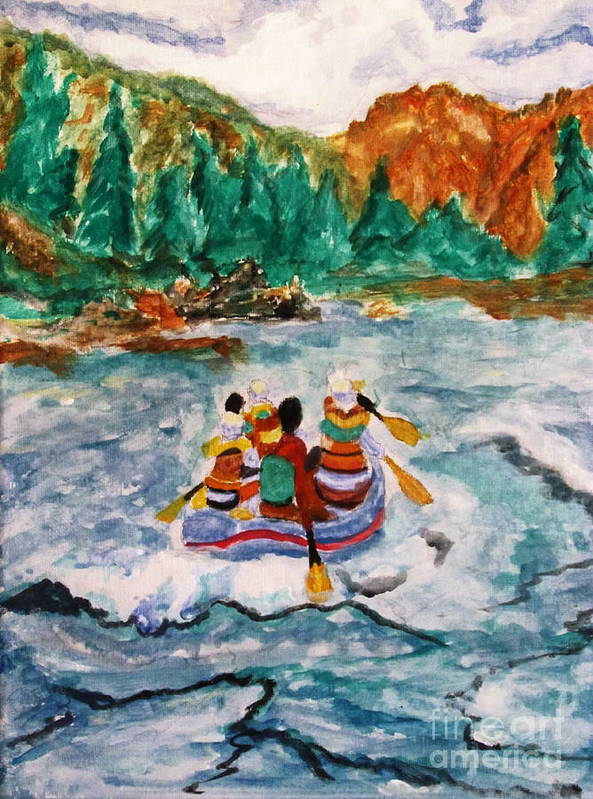 Rapids Art Print featuring the painting Shooting The Wild Rapids by Stanley Morganstein
