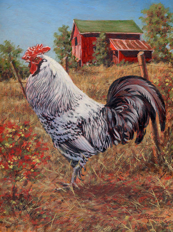 Rooster Art Print featuring the painting Silver Laced Rock Rooster by Richard De Wolfe