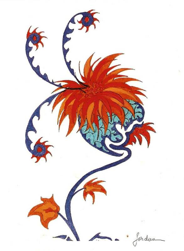 Orange Blue Surreal Artwork Art Print featuring the painting Singing Flower by Jordana Sands