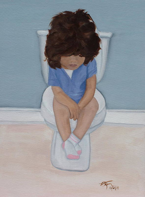 Portrait Of A Child Art Print featuring the painting Sitting Pretty by Vickie Roche