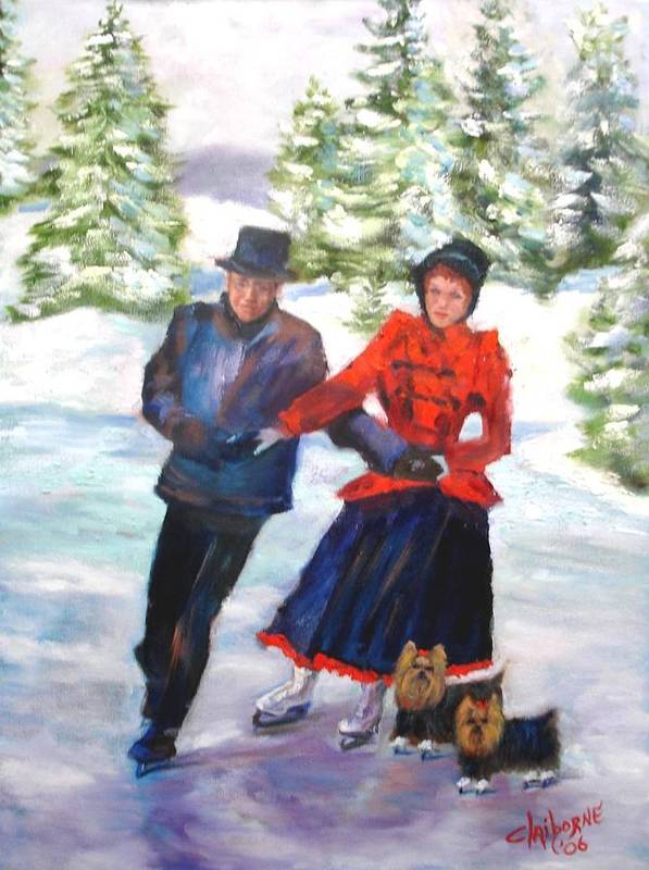 Christmas Card Art Print featuring the painting Skating In The Park by Claiborne Hemphill-Trinklein