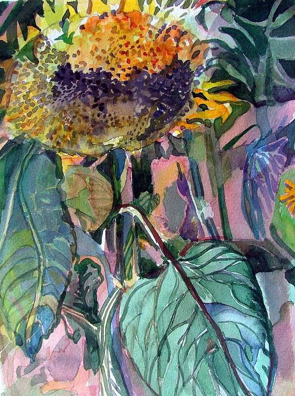 Sunflower Art Print featuring the painting Sleepy Sunflower by Mindy Newman