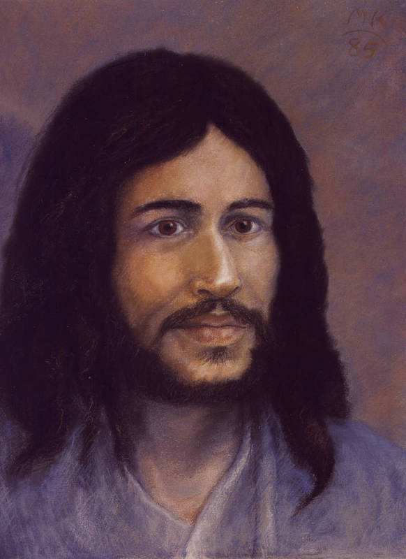 Jesus Art Print featuring the painting Smiling Jesus by Miriam A Kilmer