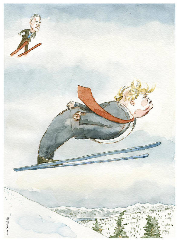 Snow Job Art Print featuring the drawing Snow Job by Barry Blitt