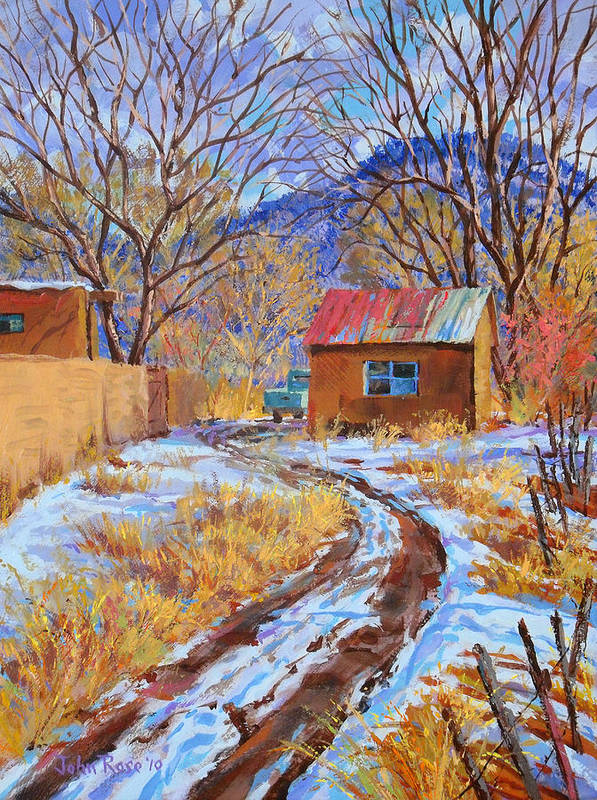 New Mexico Art Print featuring the painting Snowy Road Home by John Rose