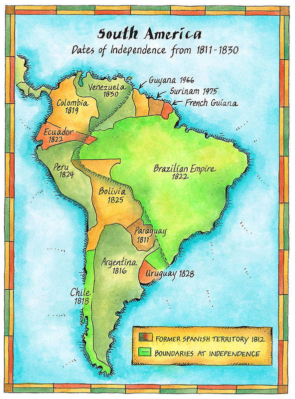 Vertical Art Print featuring the digital art South American Independence by Jennifer Thermes