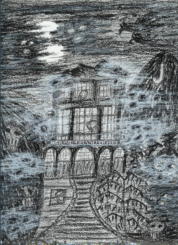 Art Print featuring the drawing Spirit World At Jerome Grand Hotel Jerome Az by Ingrid Szabo