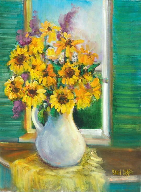 Flowers Art Print featuring the painting Spring Daisies by Sally Seago