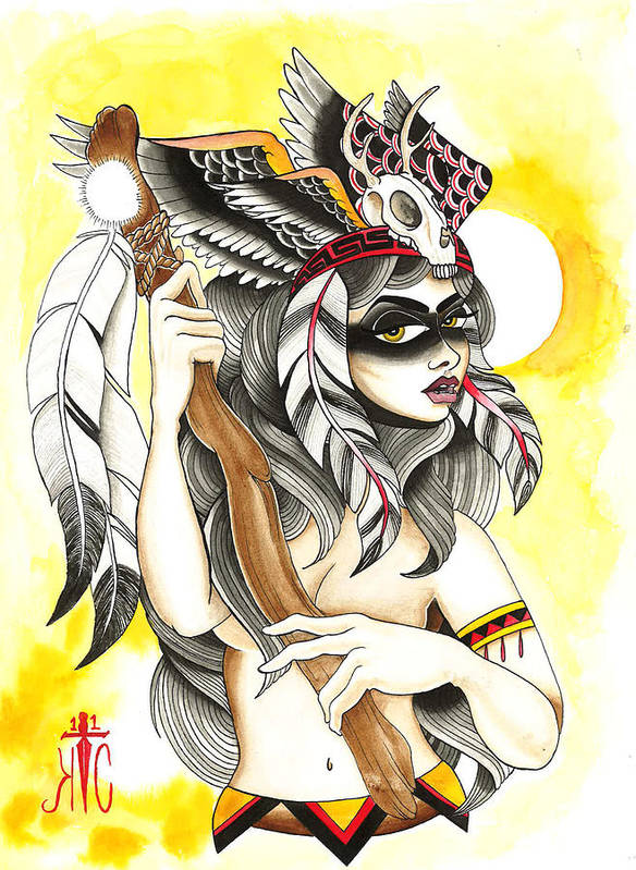 Native Art Print featuring the painting Squaw by Kate Collins